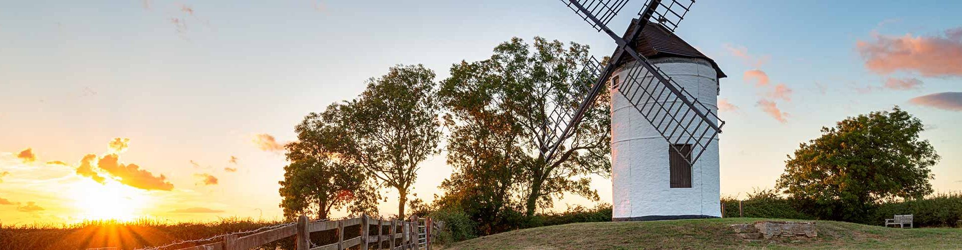 Sunset over Ashton Windmill at Wedmore in the Somerset countryside